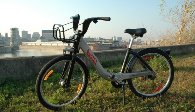 BIXI with Montreal skyline